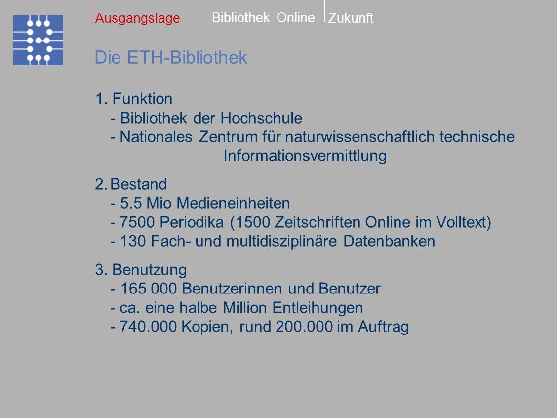 Dissertationen Online Bibliothek Online ZukunftAusgangslage Seit Oktober 2000 ETH-Dissertationen ab 1999 1300 Dissertationen mit Abstract in zwei Sprachen 700 Dissertationen im Volltext frei zugänglich Statistik Seit Oktober ca.