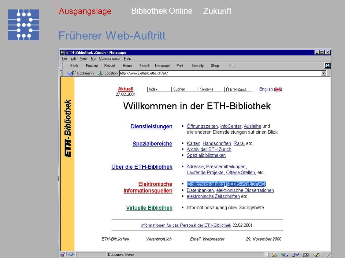 Heutiger Web-Auftritt Bibliothek Online ZukunftAusgangslage