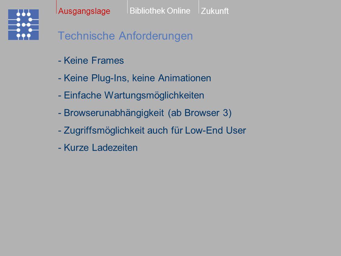- Keine Frames - Keine Plug-Ins, keine Animationen - Einfache Wartungsmöglichkeiten - Browserunabhängigkeit (ab Browser 3) - Zugriffsmöglichkeit auch für Low-End User - Kurze Ladezeiten Technische Anforderungen Bibliothek Online ZukunftAusgangslage