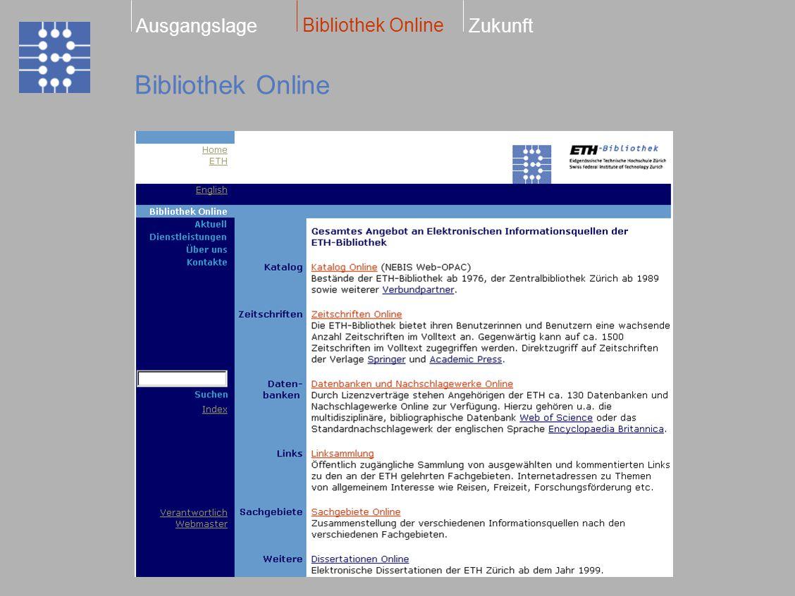 Elektronische Zeitschriften Bibliothek Online ZukunftAusgangslage