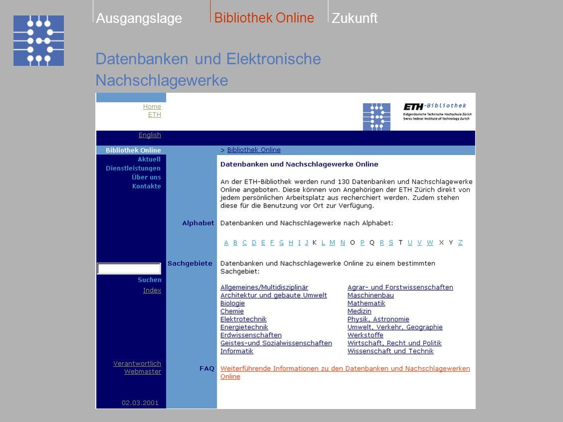 Datenbanken und Elektronische Nachschlagewerke Bibliothek Online ZukunftAusgangslage