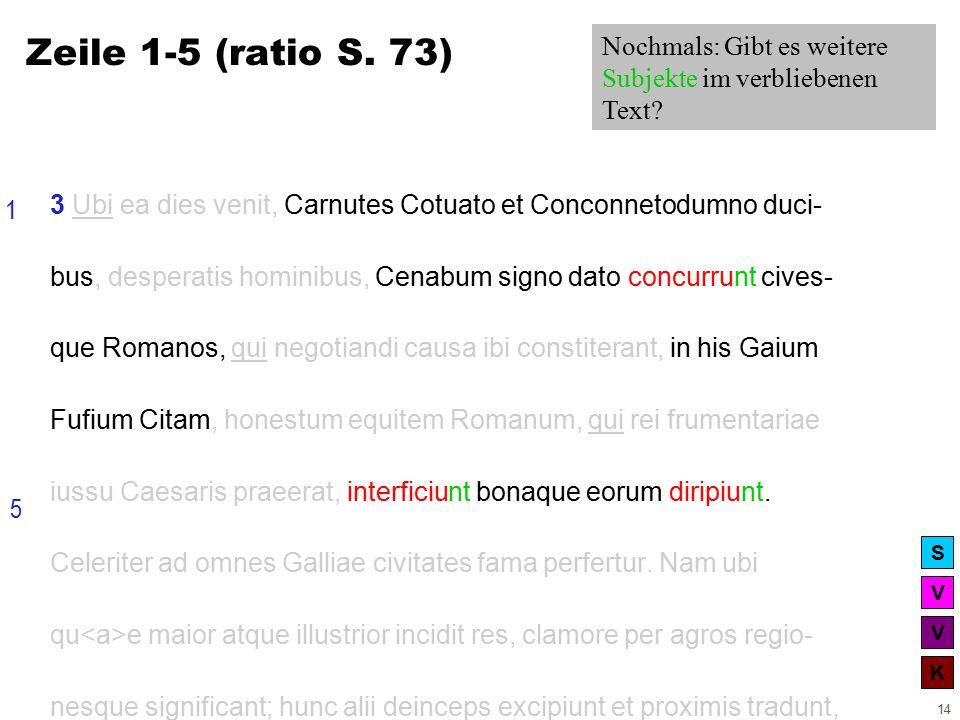 V V K S 14 3 Ubi ea dies venit, Carnutes Cotuato et Conconnetodumno duci- bus, desperatis hominibus, Cenabum signo dato concurrunt cives- que Romanos, qui negotiandi causa ibi constiterant, in his Gaium Fufium Citam, honestum equitem Romanum, qui rei frumentariae iussu Caesaris praeerat, interficiunt bonaque eorum diripiunt.