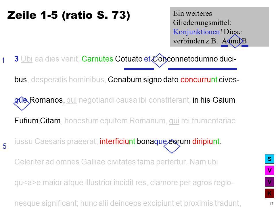 V V K S 17 3 Ubi ea dies venit, Carnutes Cotuato et Conconnetodumno duci- bus, desperatis hominibus, Cenabum signo dato concurrunt cives- que Romanos, qui negotiandi causa ibi constiterant, in his Gaium Fufium Citam, honestum equitem Romanum, qui rei frumentariae iussu Caesaris praeerat, interficiunt bonaque eorum diripiunt.