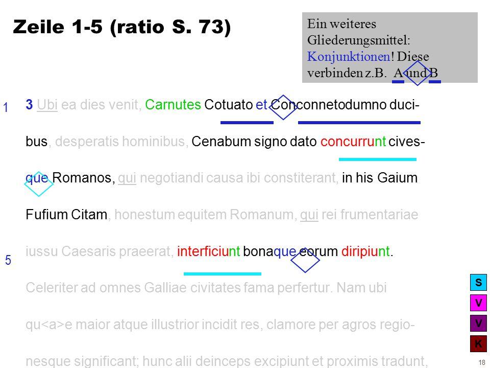 V V K S 18 3 Ubi ea dies venit, Carnutes Cotuato et Conconnetodumno duci- bus, desperatis hominibus, Cenabum signo dato concurrunt cives- que Romanos, qui negotiandi causa ibi constiterant, in his Gaium Fufium Citam, honestum equitem Romanum, qui rei frumentariae iussu Caesaris praeerat, interficiunt bonaque eorum diripiunt.