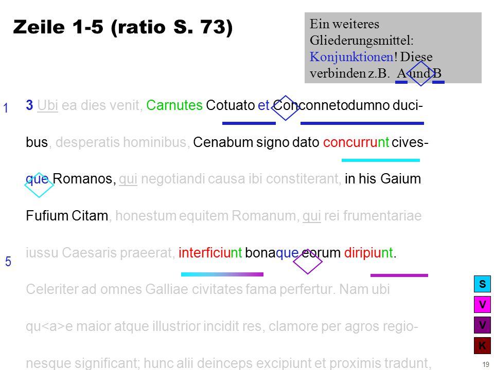 V V K S 19 3 Ubi ea dies venit, Carnutes Cotuato et Conconnetodumno duci- bus, desperatis hominibus, Cenabum signo dato concurrunt cives- que Romanos, qui negotiandi causa ibi constiterant, in his Gaium Fufium Citam, honestum equitem Romanum, qui rei frumentariae iussu Caesaris praeerat, interficiunt bonaque eorum diripiunt.