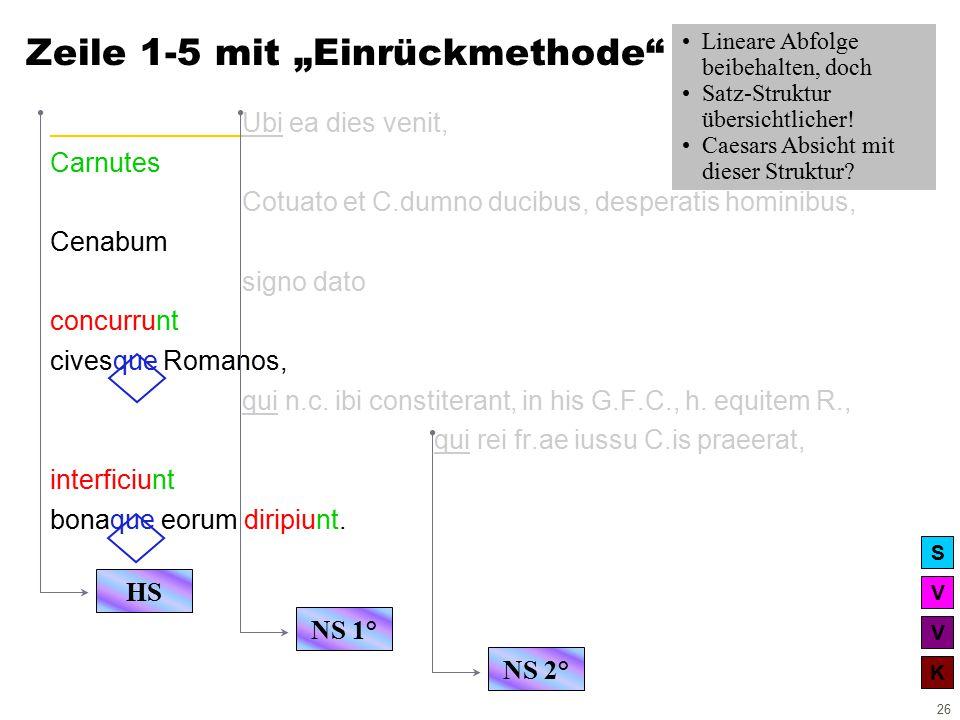V V K S 26 Ubi ea dies venit, Carnutes Cotuato et C.dumno ducibus, desperatis hominibus, Cenabum signo dato concurrunt civesque Romanos, qui n.c.
