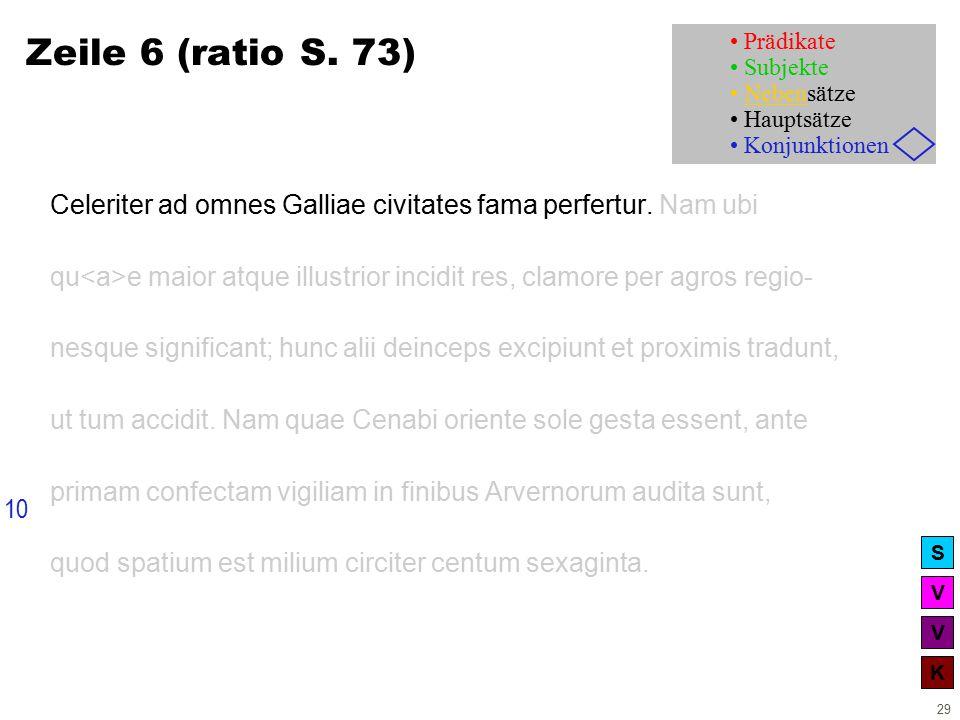 V V K S 29 Zeile 6 (ratio S. 73) Celeriter ad omnes Galliae civitates fama perfertur.