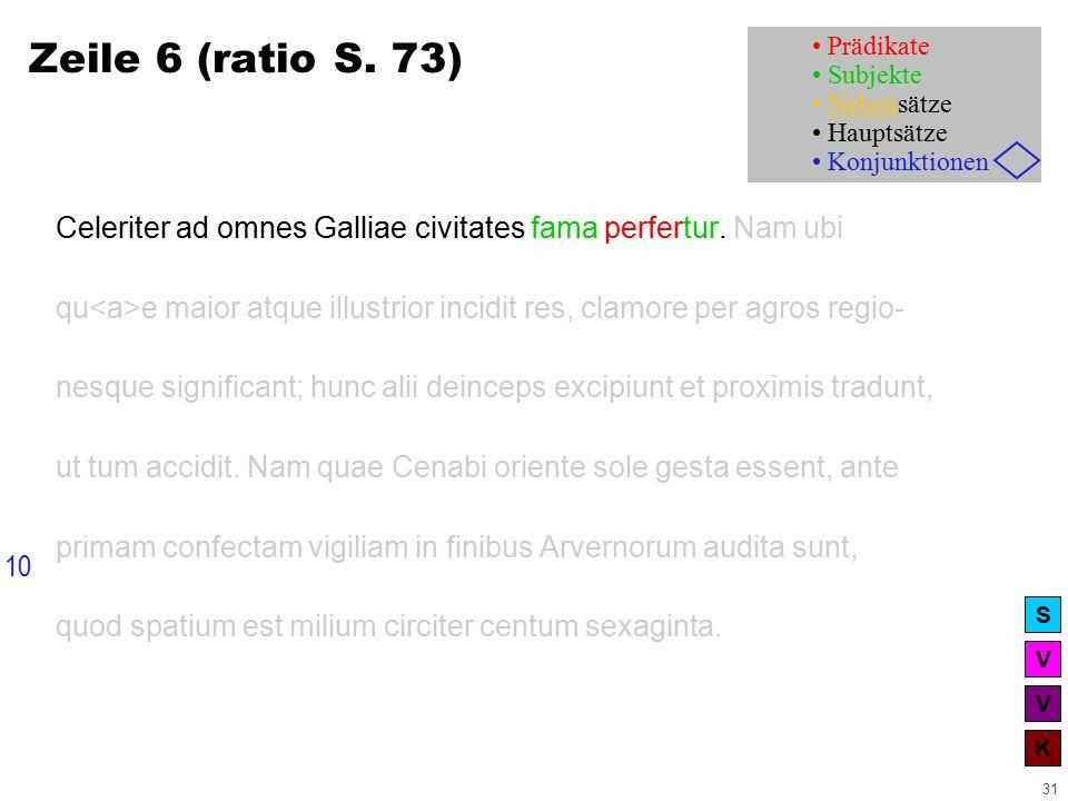 V V K S 31 Zeile 6 (ratio S. 73) Celeriter ad omnes Galliae civitates fama perfertur.