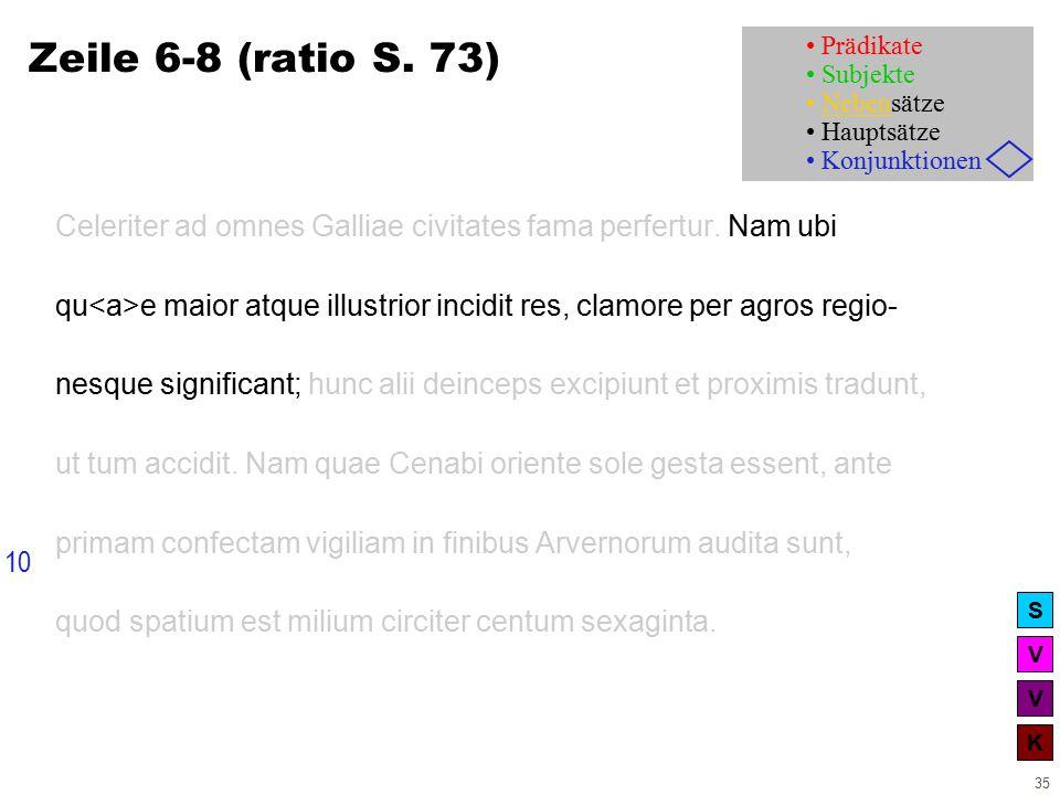 V V K S 35 Zeile 6-8 (ratio S. 73) Celeriter ad omnes Galliae civitates fama perfertur.