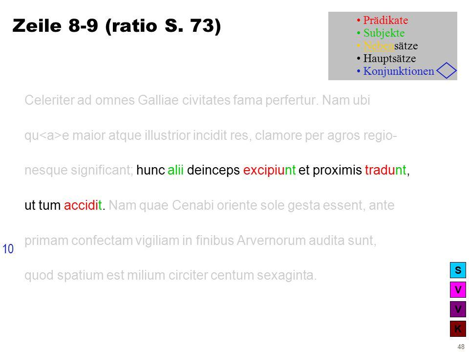 V V K S 48 Zeile 8-9 (ratio S. 73) Celeriter ad omnes Galliae civitates fama perfertur.
