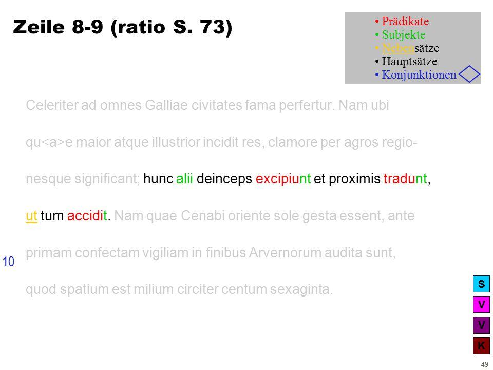 V V K S 49 Zeile 8-9 (ratio S. 73) Celeriter ad omnes Galliae civitates fama perfertur.