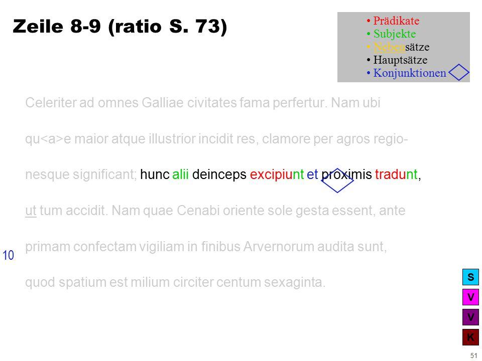 V V K S 51 Zeile 8-9 (ratio S. 73) Celeriter ad omnes Galliae civitates fama perfertur.