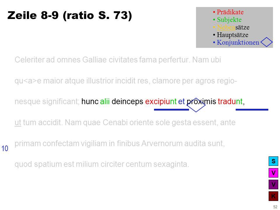 V V K S 52 Zeile 8-9 (ratio S. 73) Celeriter ad omnes Galliae civitates fama perfertur.