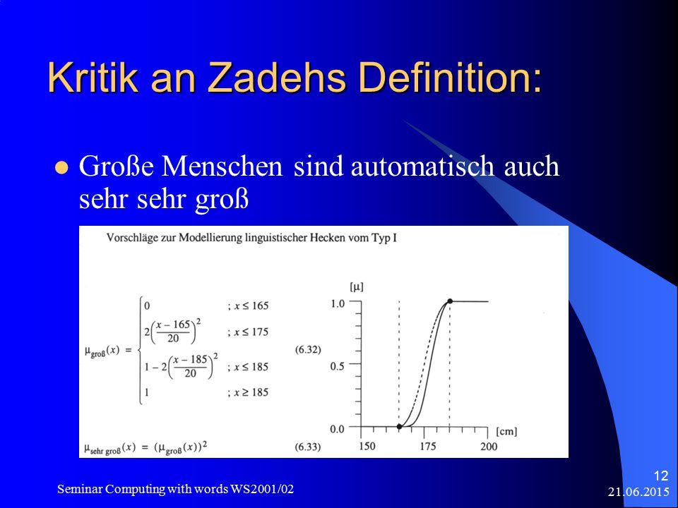 21.06.2015 Seminar Computing with words WS2001/02 12 Kritik an Zadehs Definition: Große Menschen sind automatisch auch sehr sehr groß
