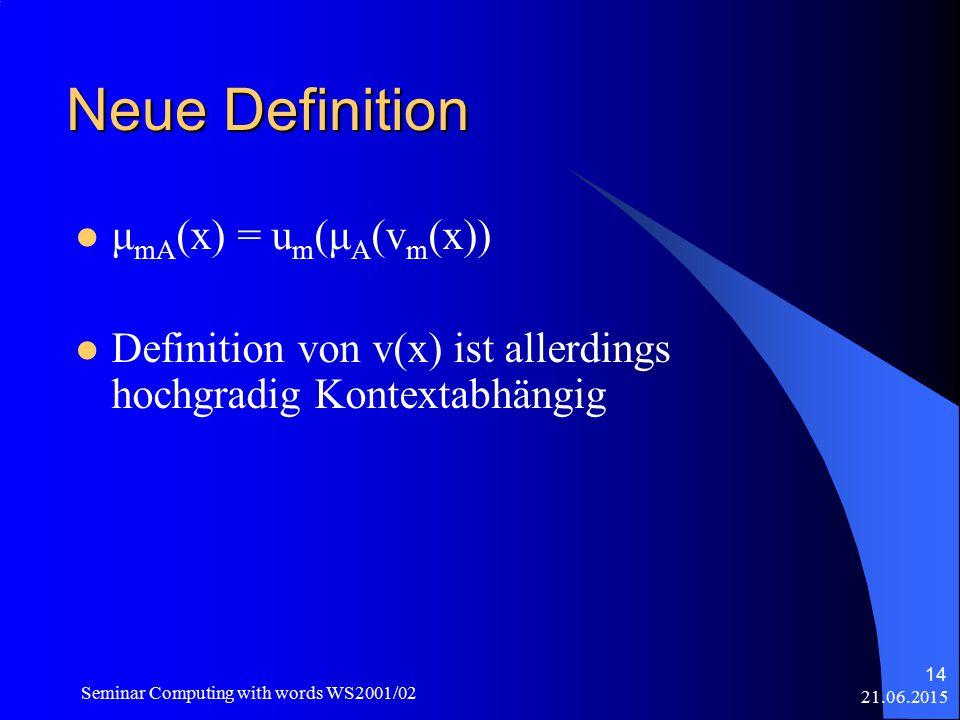 21.06.2015 Seminar Computing with words WS2001/02 14 Neue Definition μ mA (x) = u m (μ A (v m (x)) Definition von v(x) ist allerdings hochgradig Kontextabhängig