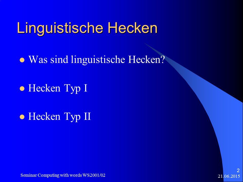 21.06.2015 Seminar Computing with words WS2001/02 2 Linguistische Hecken Was sind linguistische Hecken.