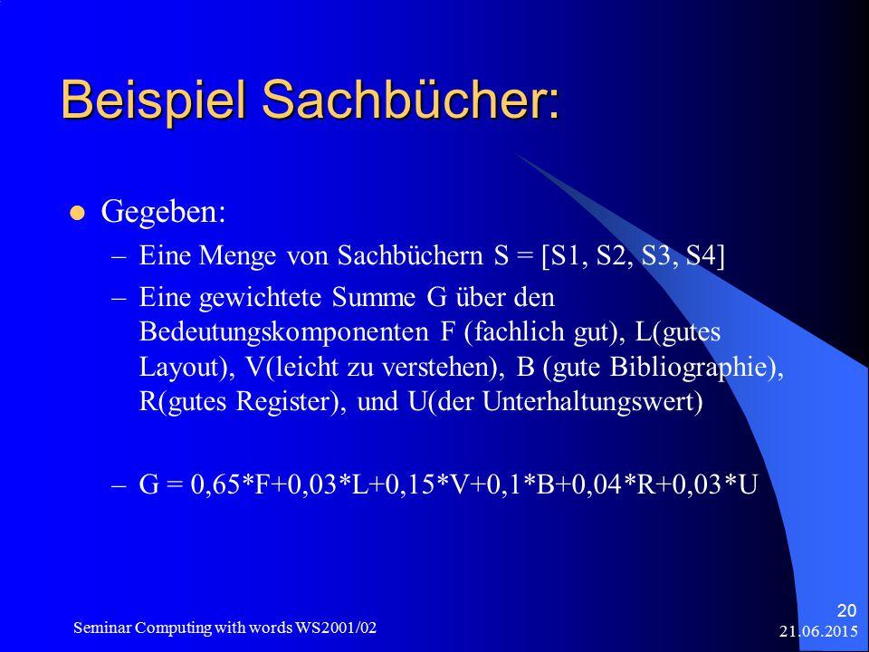 21.06.2015 Seminar Computing with words WS2001/02 20 Beispiel Sachbücher: Gegeben: –Eine Menge von Sachbüchern S = [S1, S2, S3, S4] –Eine gewichtete Summe G über den Bedeutungskomponenten F (fachlich gut), L(gutes Layout), V(leicht zu verstehen), B (gute Bibliographie), R(gutes Register), und U(der Unterhaltungswert) –G = 0,65*F+0,03*L+0,15*V+0,1*B+0,04*R+0,03*U