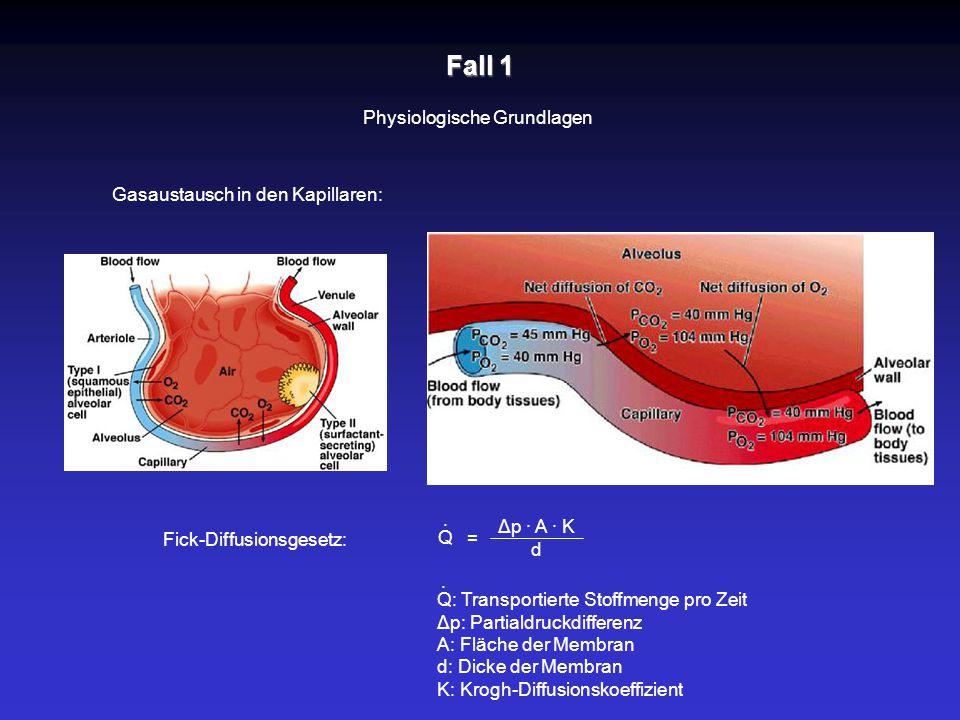 Fall 1 Physiologische Grundlagen Gasaustausch in den Kapillaren: Fick-Diffusionsgesetz: = Δp · A · K d Q · Q: Transportierte Stoffmenge pro Zeit Δp: P