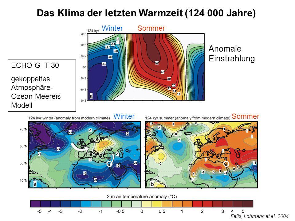 Das Klima der letzten Warmzeit (124 000 Jahre) Anomale Einstrahlung WinterSommer Winter Sommer ECHO-G T 30 gekoppeltes Atmosphäre- Ozean-Meereis Model