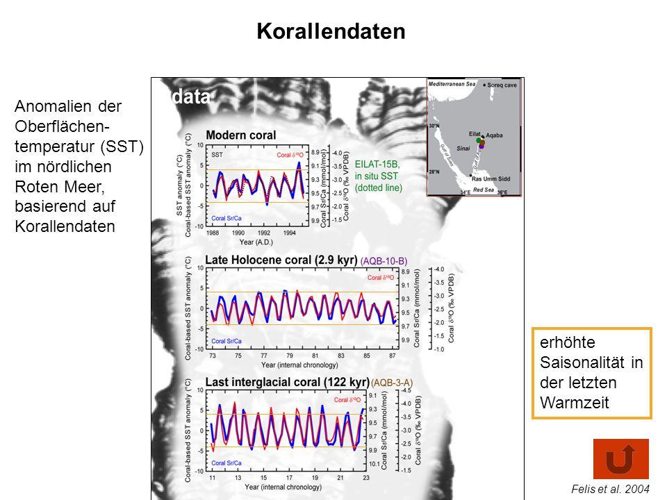 Korallendaten Anomalien der Oberflächen- temperatur (SST) im nördlichen Roten Meer, basierend auf Korallendaten erhöhte Saisonalität in der letzten Wa