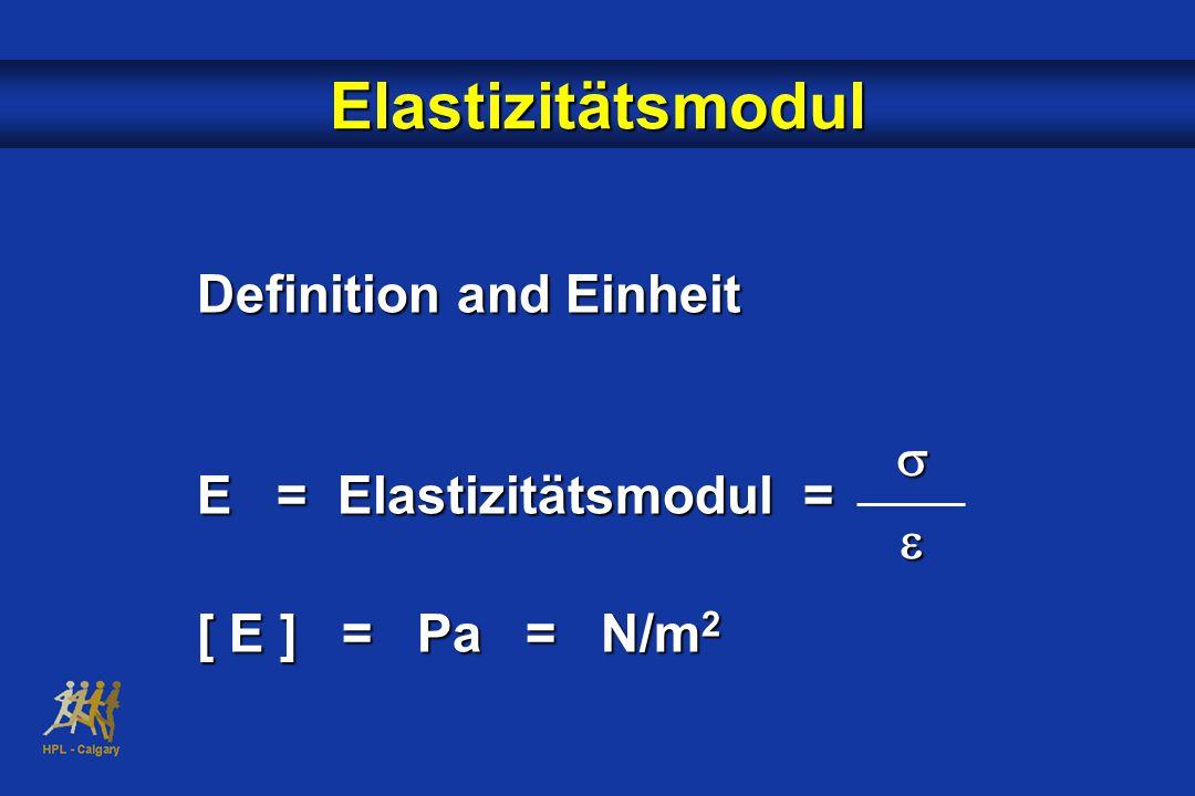 Elastizitätsmodul Definition and Einheit E = Elastizitätsmodul = [ E ] = Pa = N/m 2 