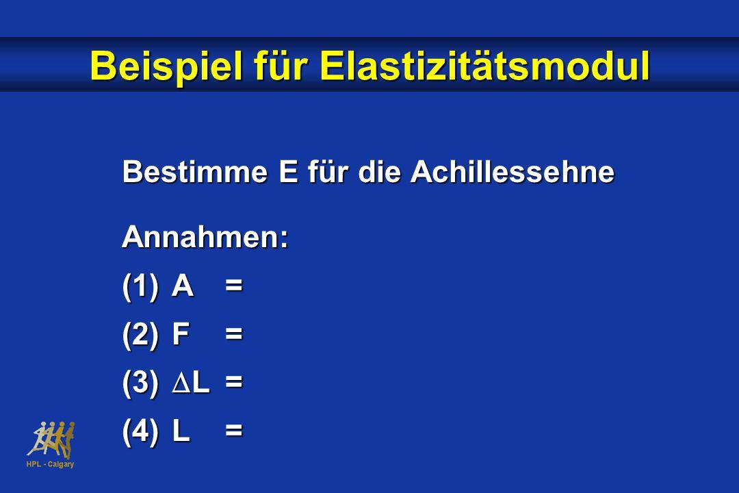 Bestimme E für die Achillessehne Annahmen: (1)A= (2)F= (3)  L= (4)L= Beispiel für Elastizitätsmodul
