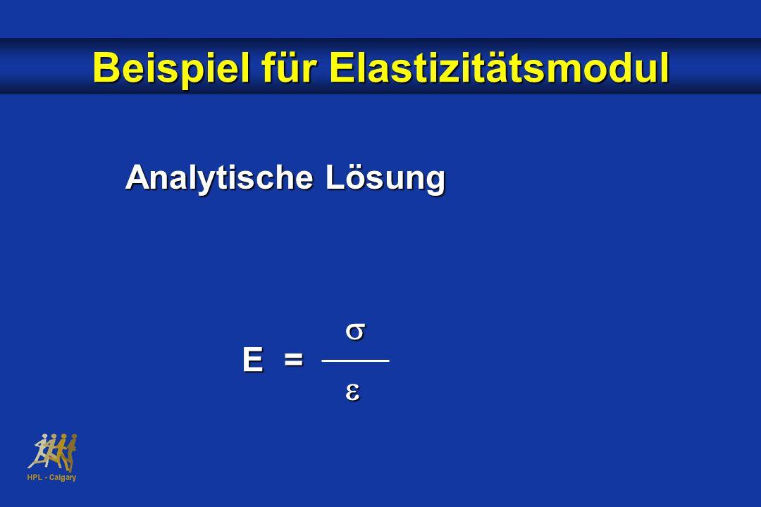 Analytische Lösung  E = E = Beispiel für Elastizitätsmodul