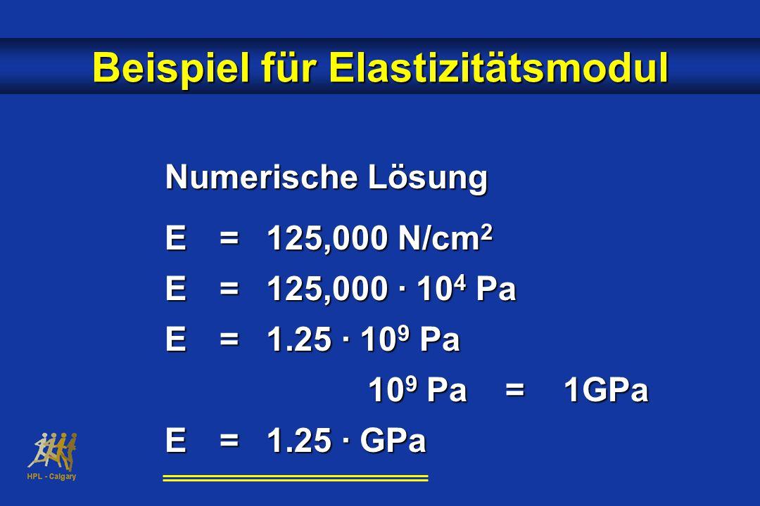 Numerische Lösung E = 125,000 N/cm 2 E=125,000 · 10 4 Pa E=1.25 · 10 9 Pa 10 9 Pa = 1GPa E=1.25 · GPa Beispiel für Elastizitätsmodul