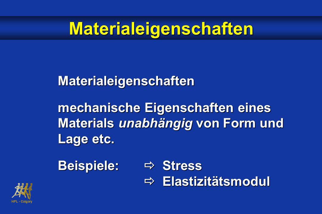 Materialeigenschaften Materialeigenschaften mechanische Eigenschaften eines Materials unabhängig von Form und Lage etc.