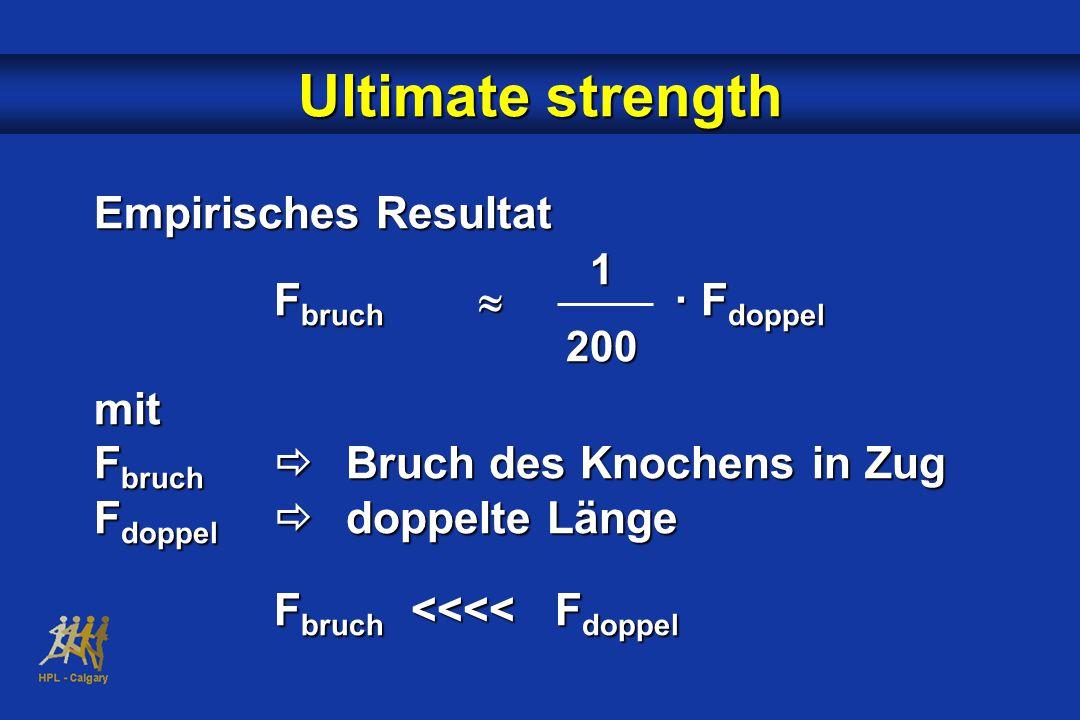 Ultimate strength Empirisches Resultat F bruch  · F doppel mit F bruch  Bruch des Knochens in Zug F doppel  doppelte Länge F bruch <<<< F doppel 1200