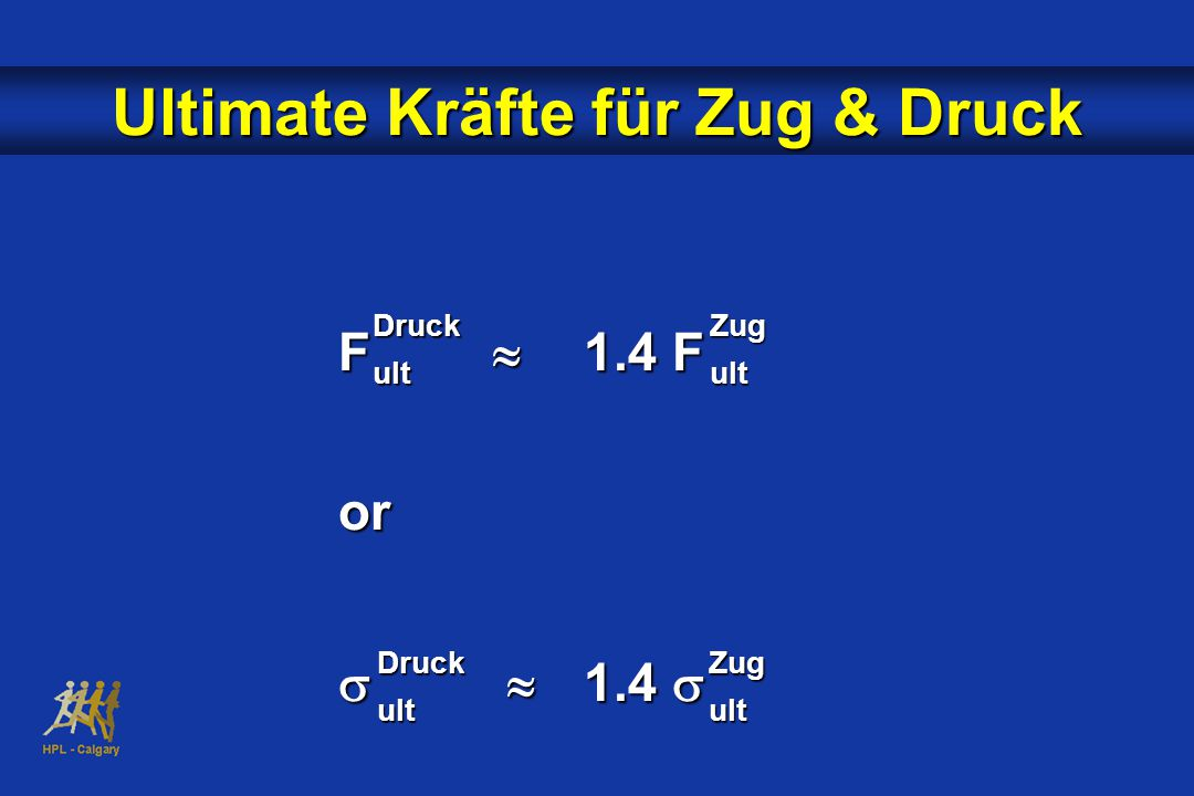 Ultimate Kräfte für Zug & Druck F  1.4 F or   1.4  DruckultZugult DruckultZugult