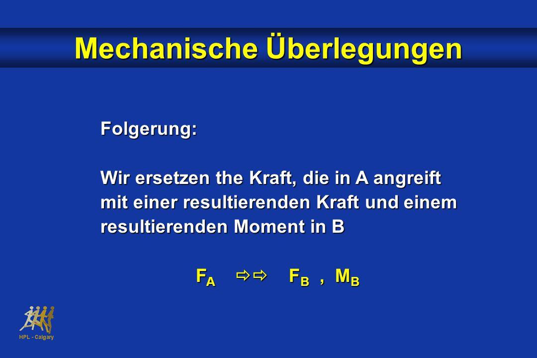 Folgerung: Wir ersetzen the Kraft, die in A angreift mit einer resultierenden Kraft und einem resultierenden Moment in B F A  F B, M B Mechanische Überlegungen