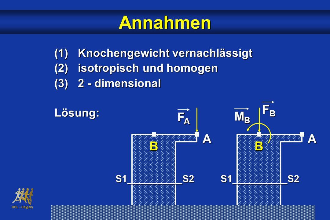 Annahmen (1) Knochengewicht vernachlässigt (2) isotropisch und homogen (3) 2 - dimensional Lösung: FBFBFBFB B A MBMBMBMB S1__________S2 FAFAFAFA B A S1__________S2