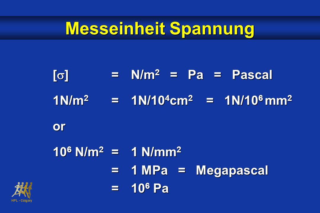 Messeinheit Spannung [  ]=N/m 2 = Pa = Pascal 1N/m 2 =1N/10 4 cm 2 = 1N/10 6 mm 2 or 10 6 N/m 2 =1 N/mm 2 =1 MPa = Megapascal =10 6 Pa