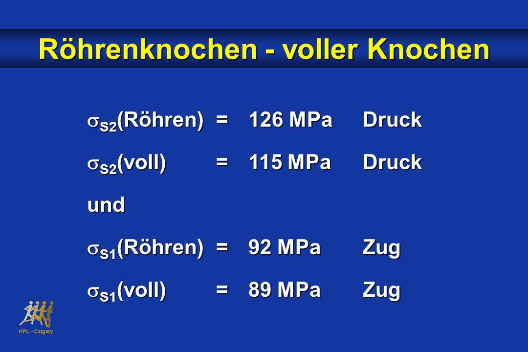  S2 (Röhren)=126 MPaDruck  S2 (voll)=115 MPaDruck und  S1 (Röhren)=92 MPaZug  S1 (voll)=89 MPaZug Röhrenknochen - voller Knochen