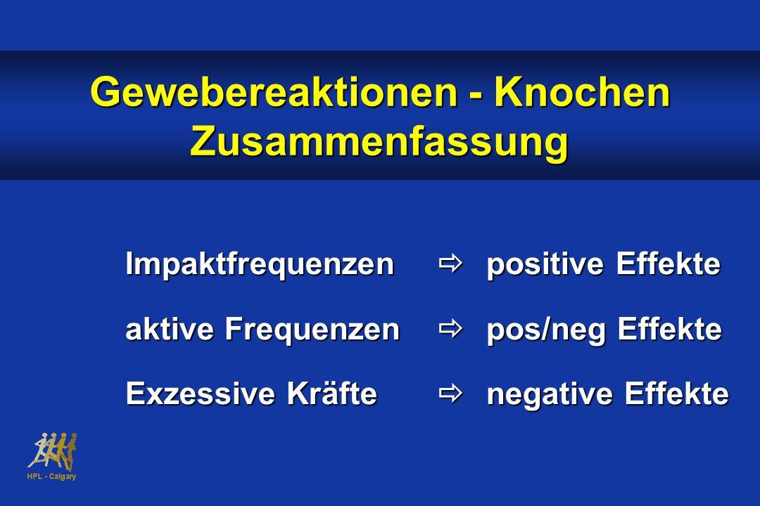 Impaktfrequenzen  positive Effekte aktive Frequenzen  pos/neg Effekte Exzessive Kräfte  negative Effekte Gewebereaktionen - Knochen Zusammenfassung