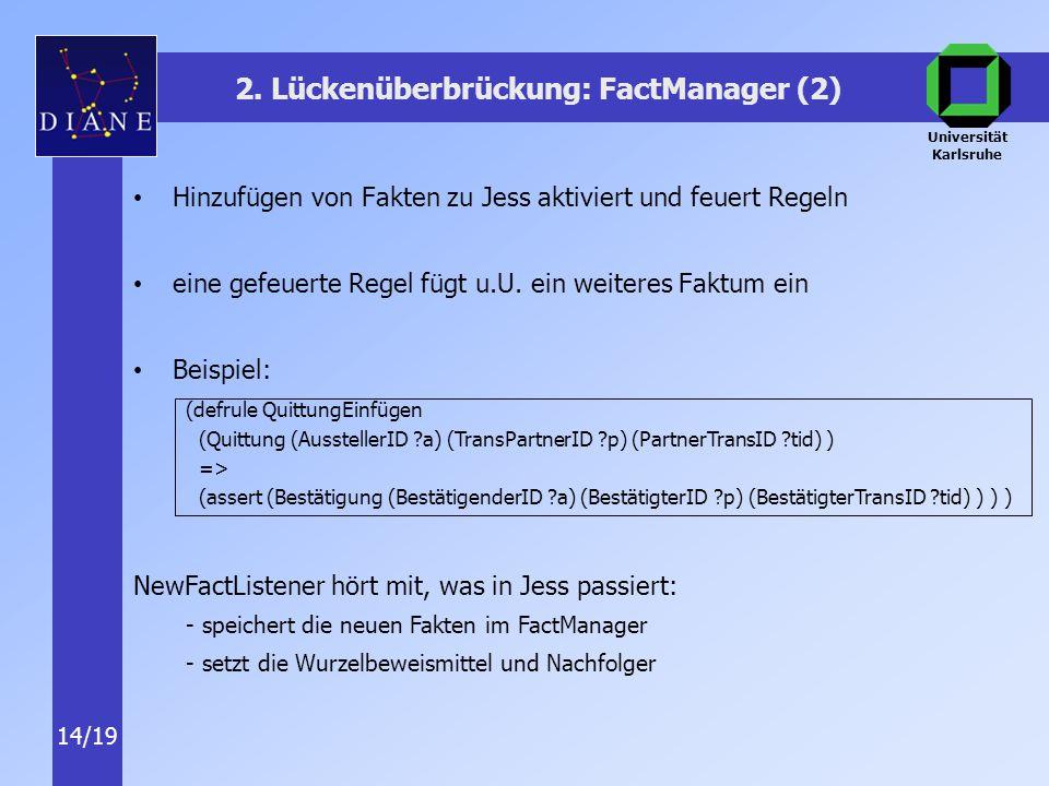 Universität Karlsruhe 14/19 Hinzufügen von Fakten zu Jess aktiviert und feuert Regeln eine gefeuerte Regel fügt u.U.