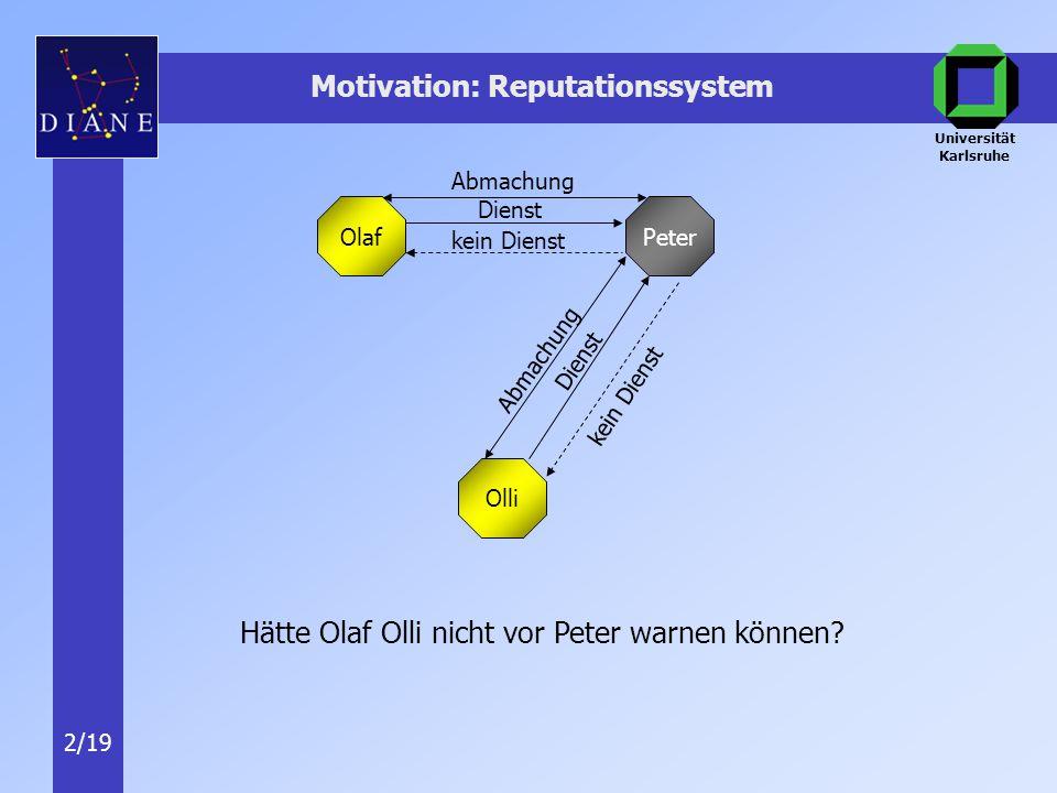 Universität Karlsruhe 2/19 Motivation: Reputationssystem Olaf Olli Peter kein Dienst Dienst Hätte Olaf Olli nicht vor Peter warnen können.