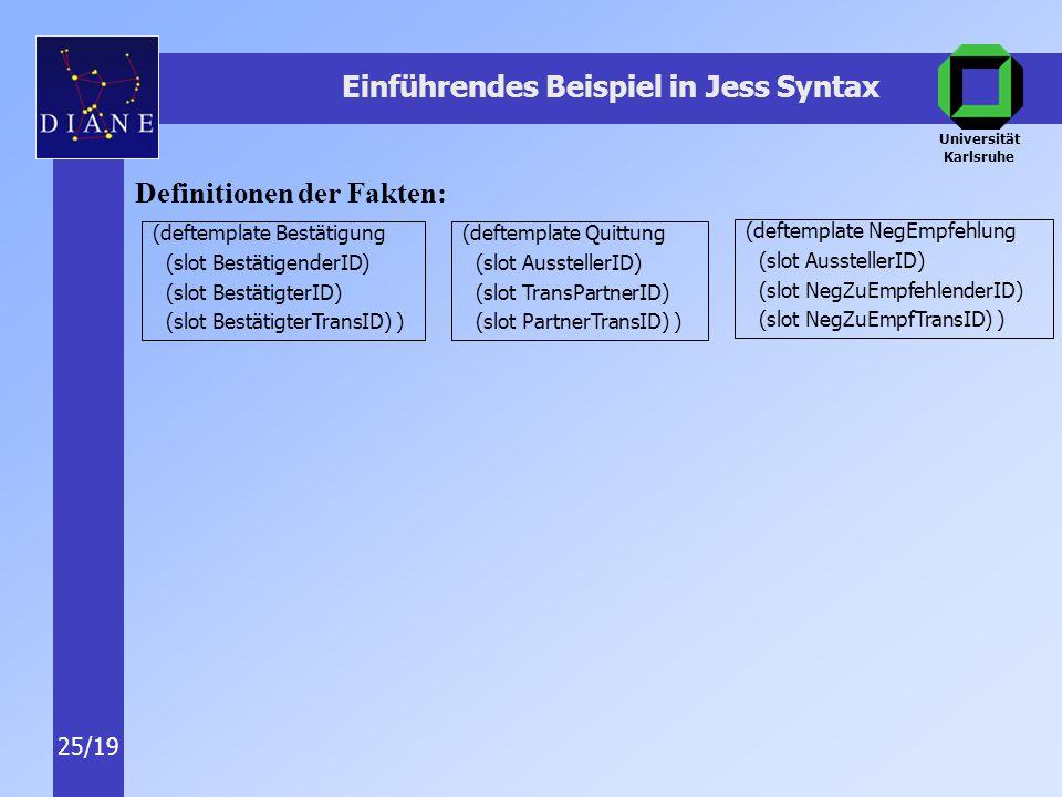 Universität Karlsruhe 25/19 Einführendes Beispiel in Jess Syntax Definitionen der Fakten: (deftemplate Bestätigung (slot BestätigenderID) (slot BestätigterID) (slot BestätigterTransID) ) (deftemplate Quittung (slot AusstellerID) (slot TransPartnerID) (slot PartnerTransID) ) (deftemplate NegEmpfehlung (slot AusstellerID) (slot NegZuEmpfehlenderID) (slot NegZuEmpfTransID) )