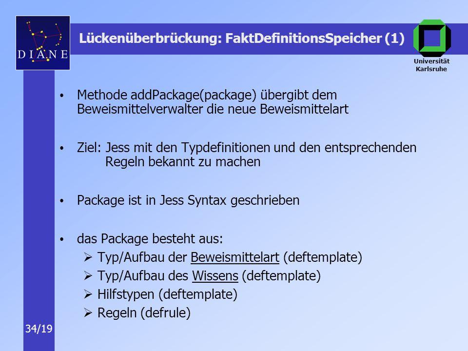 Universität Karlsruhe 34/19 Lückenüberbrückung: FaktDefinitionsSpeicher (1) Methode addPackage(package) übergibt dem Beweismittelverwalter die neue Beweismittelart Ziel: Jess mit den Typdefinitionen und den entsprechenden Regeln bekannt zu machen Package ist in Jess Syntax geschrieben das Package besteht aus:  Typ/Aufbau der Beweismittelart (deftemplate)  Typ/Aufbau des Wissens (deftemplate)  Hilfstypen (deftemplate)  Regeln (defrule)