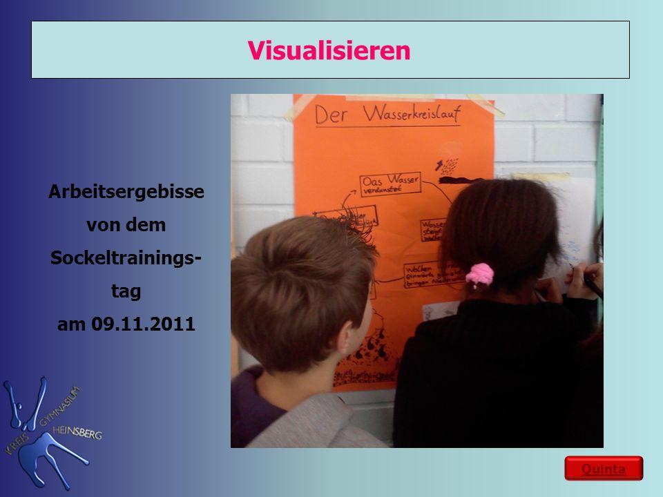 Visualisieren Quinta Arbeitsergebisse von dem Sockeltrainings- tag am 09.11.2011