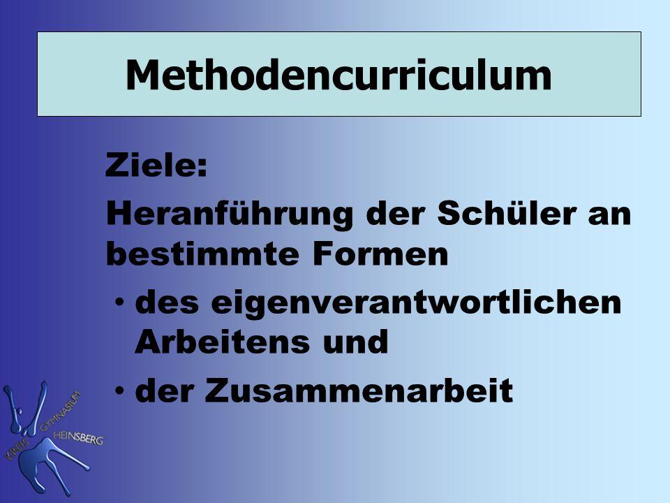 Methodencurriculum Ziele: Heranführung der Schüler an bestimmte Formen des eigenverantwortlichen Arbeitens und der Zusammenarbeit