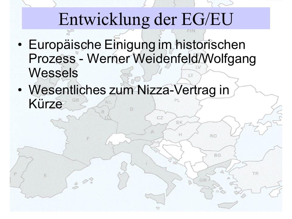 Entwicklung der EG/EU Europäische Einigung im historischen Prozess - Werner Weidenfeld/Wolfgang Wessels Wesentliches zum Nizza-Vertrag in Kürze