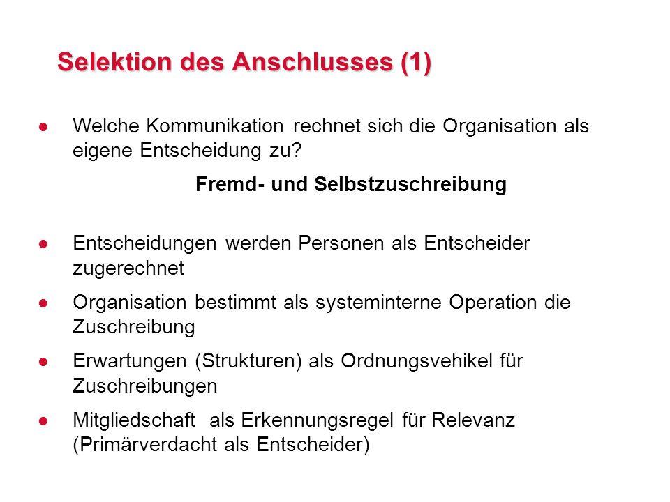 Selektion des Anschlusses (1) l Welche Kommunikation rechnet sich die Organisation als eigene Entscheidung zu.