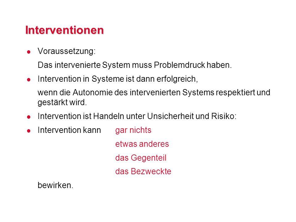 Interventionen l Voraussetzung: Das intervenierte System muss Problemdruck haben.