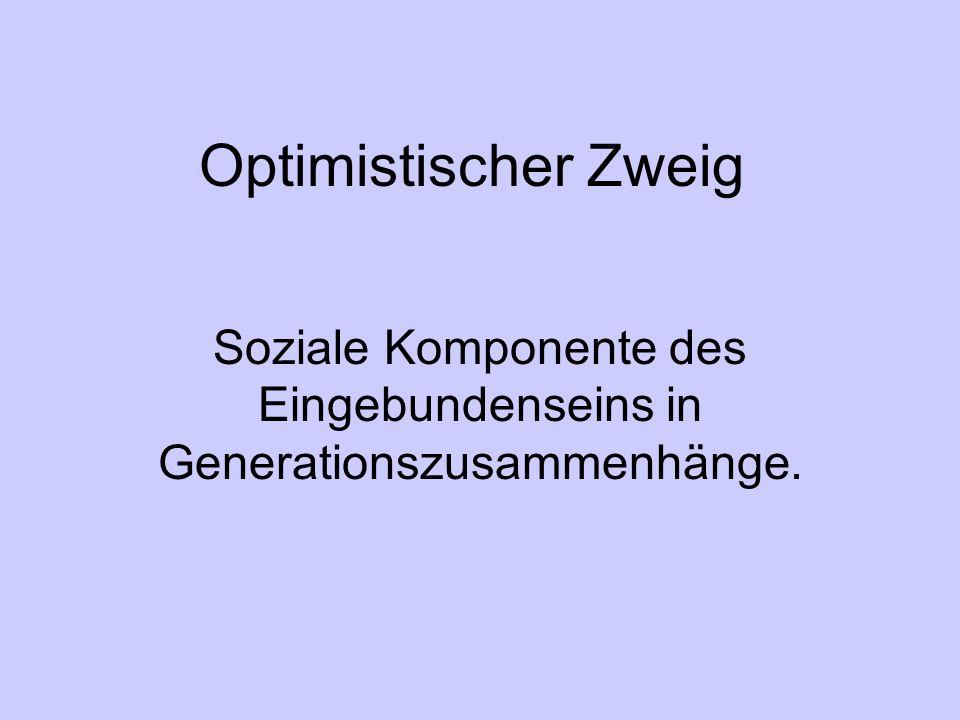 Optimistischer Zweig Soziale Komponente des Eingebundenseins in Generationszusammenhänge.