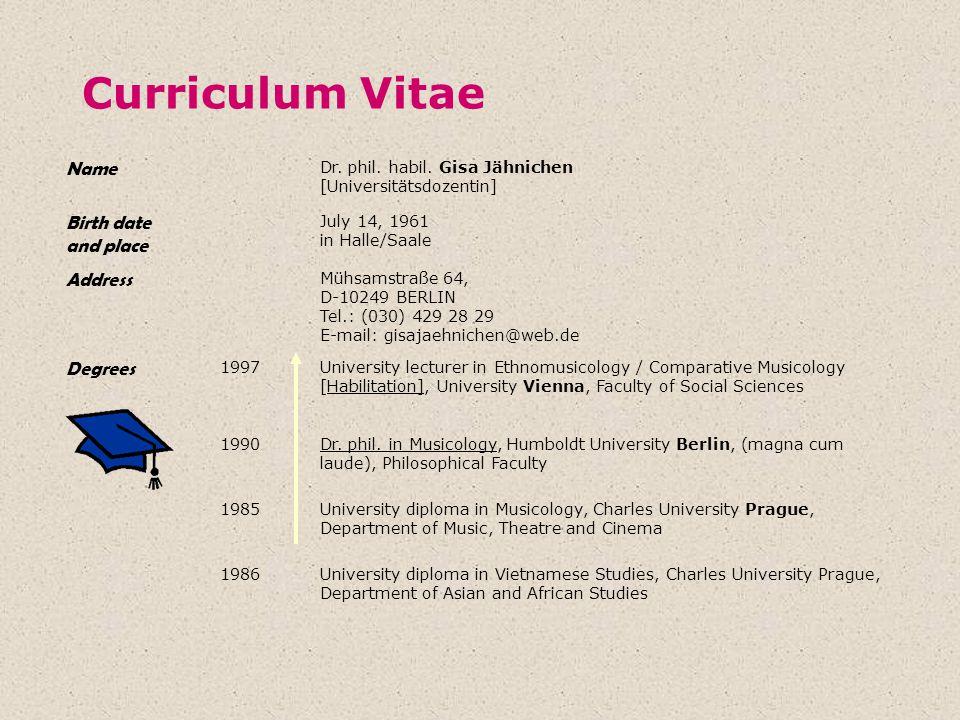 Curriculum Vitae Name Dr. phil. habil. Gisa Jähnichen [Universitätsdozentin] Birth date and place July 14, 1961 in Halle/Saale Address Mühsamstraße 64