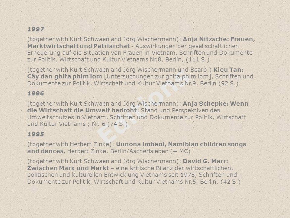 Editions 1997 (together with Kurt Schwaen and Jörg Wischermann): Anja Nitzsche: Frauen, Marktwirtschaft und Patriarchat - Auswirkungen der gesellschaf