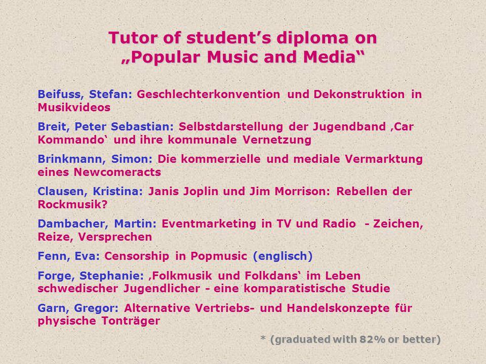 "Tutor of student's diploma on ""Popular Music and Media"" Beifuss, Stefan: Geschlechterkonvention und Dekonstruktion in Musikvideos Breit, Peter Sebasti"