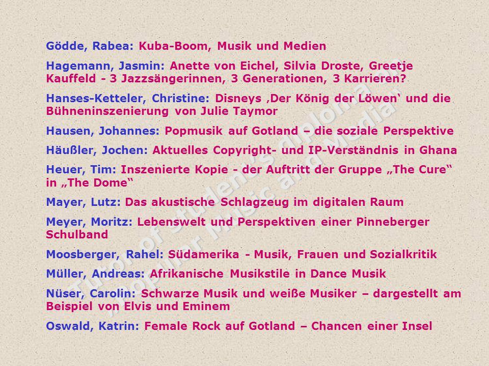 "Tutor of student's diploma on ""Popular Music and Media"" Gödde, Rabea: Kuba-Boom, Musik und Medien Hagemann, Jasmin: Anette von Eichel, Silvia Droste,"